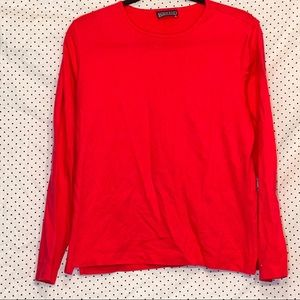 Lands End Medium Knit Top Coral Pink Round Neck